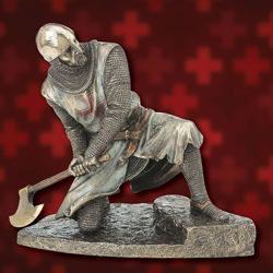 Picture of Templar Knight with Axe Statue