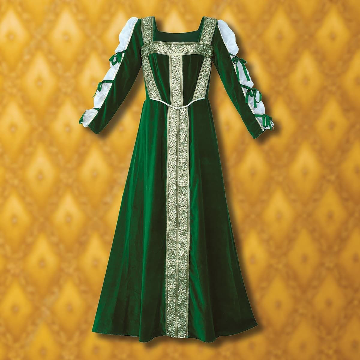 This green, 100% cotton velvet dress is accented with gold sequined trim. The sleeves have sheer soft netting finished with matching green bows