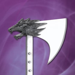 The Beast Axe has a steel shaft and a dragon head on the back of the sharpened high carbon steel axe head