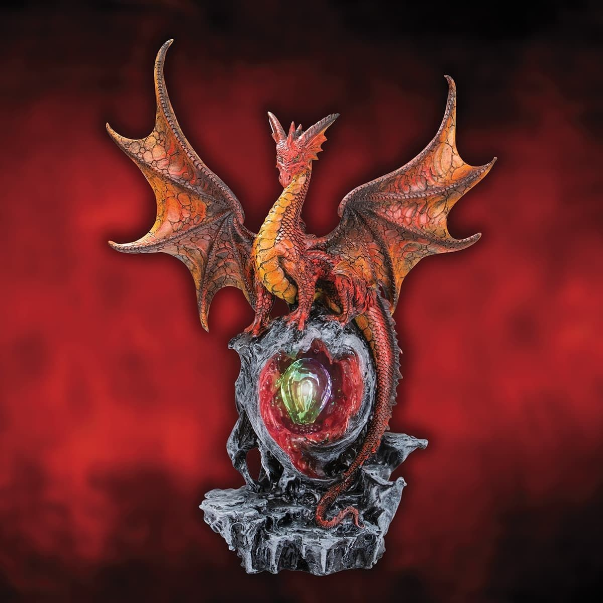 Hyperion Red Dragon Statue on a Crystal