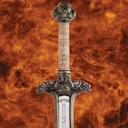 Conan the Barbarian Official movie prop replica Atlantean Sword has intricate details on the guard & pommel