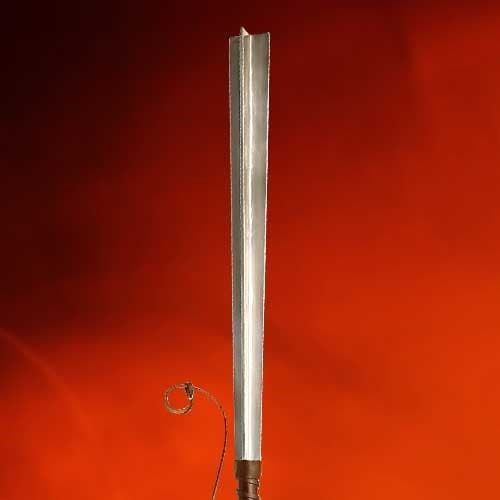 Circa 1300 replica mace made from four bars of steel with a large steel pommel to help balance it, Wood and leather grip