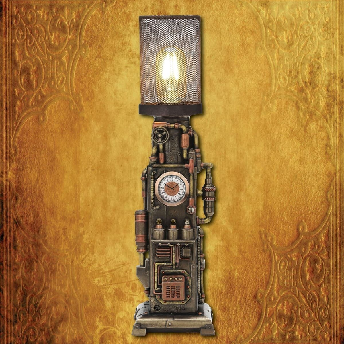 Steampunk Beacon Tower Clock Lamp