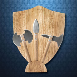 Wooden Cutting Medieval Cheese Board Set