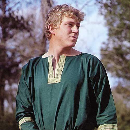 Green Cotton Viking Tunic, close up