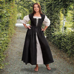 Black Renaissance Overdress - Country Maid Skirt with Integral Bodice