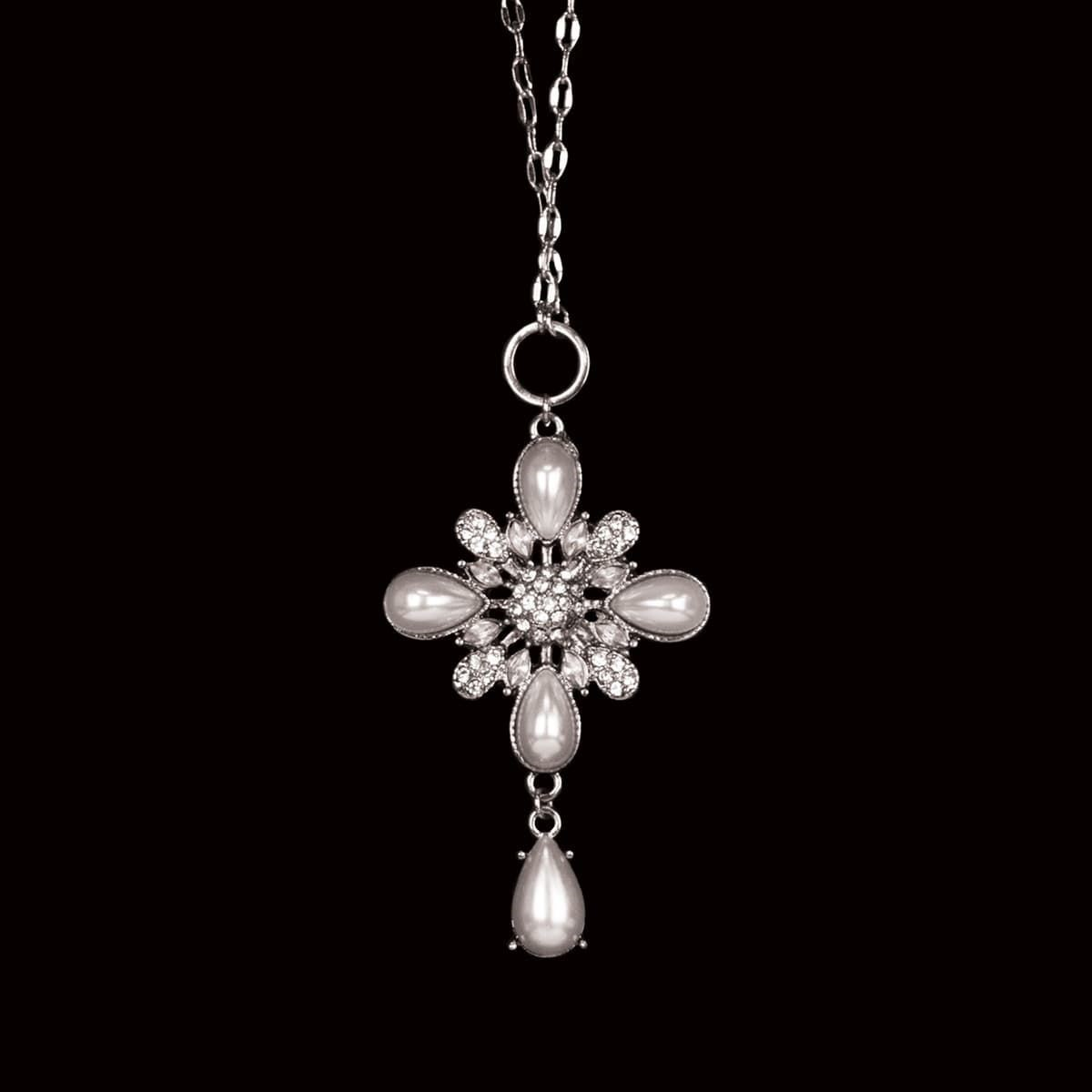 Teardrop Pearl Cross Necklace in SIlver