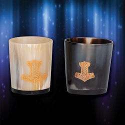 Viking Horn Shot Glass Set with Thor's Hammer