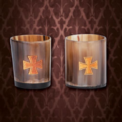 Viking Horn Shot Glass Set with Templar Cross