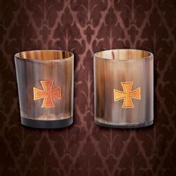 Viking Horn Shot Glass Set with Templar Cross