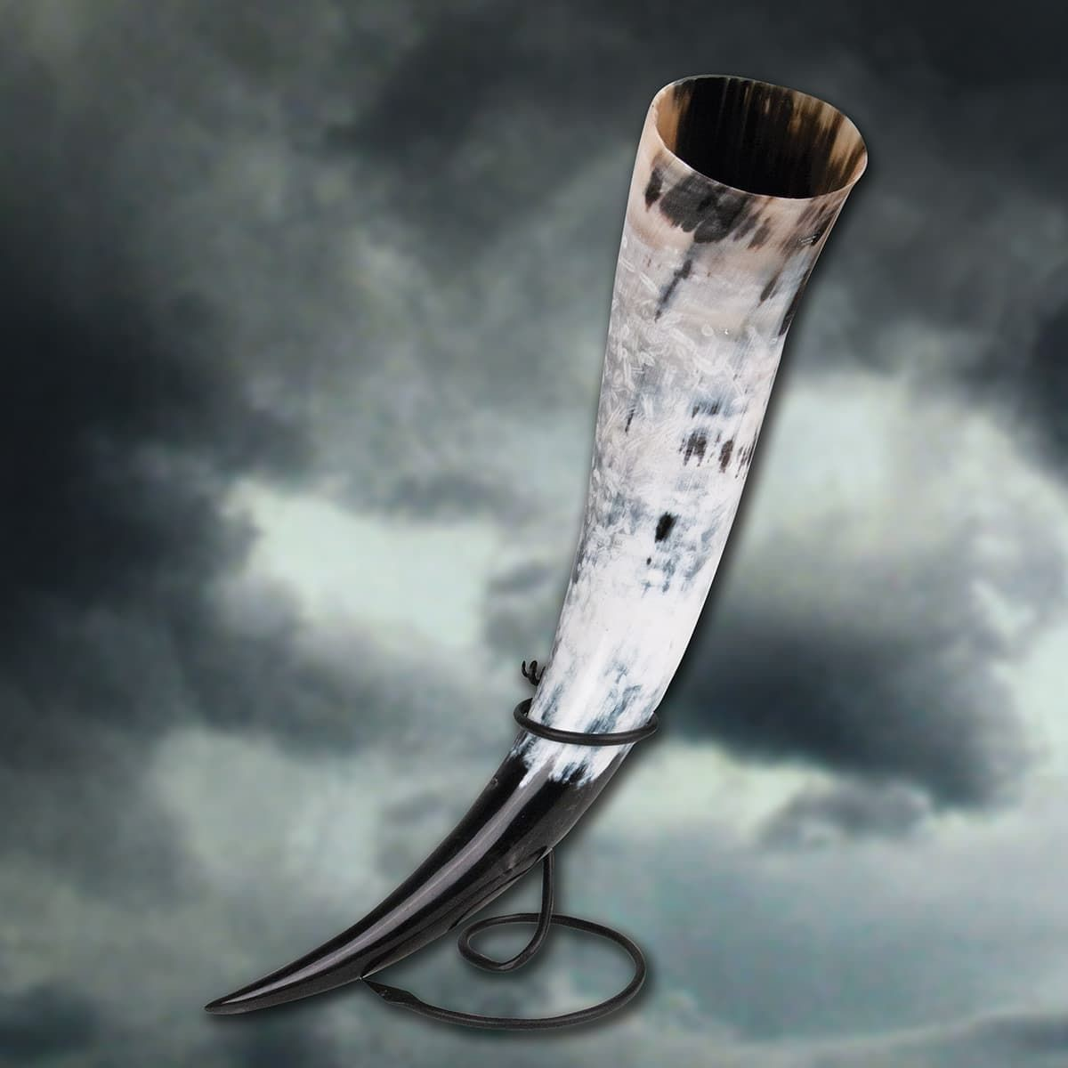 Odin's Oversized Drinking Horn with Iron Stand