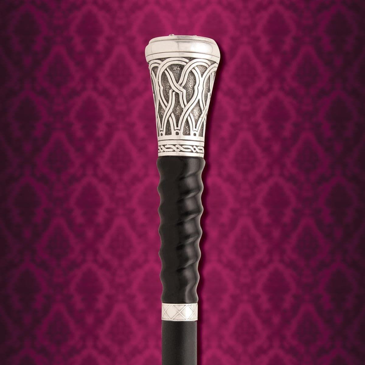Gambler's Sword Cane Spiral Carved Black Horn Handle