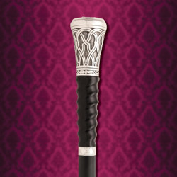 Gambler's Sword Cane Spiral Carved Black Horn Handle