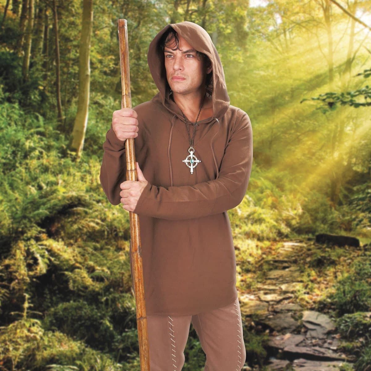 Brown Cotton Bandit Hooded Shirt with hood up