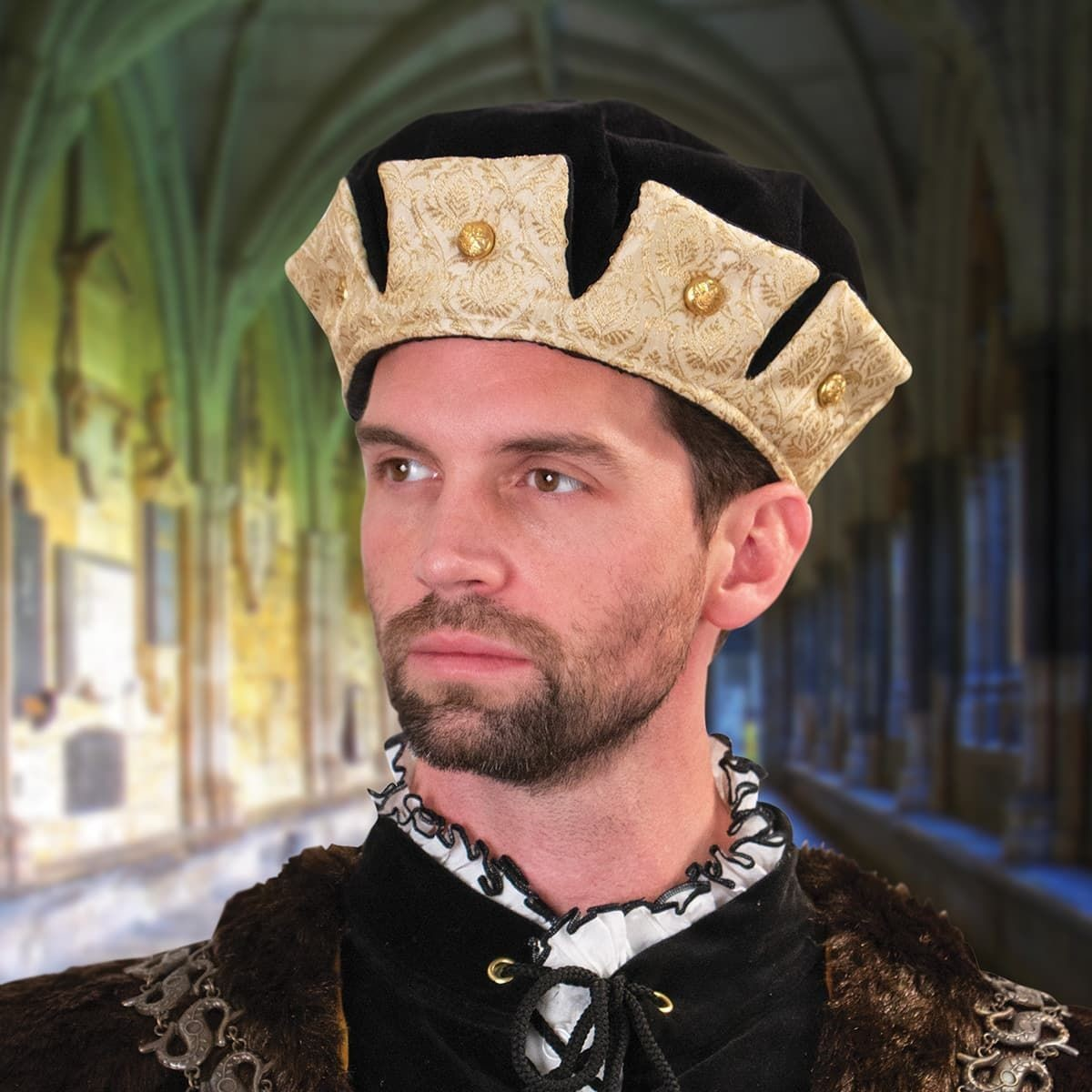 Black and Gold Tudor Cap with Crown