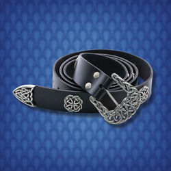 Noble's Black Leather Belt with Silver Fittings