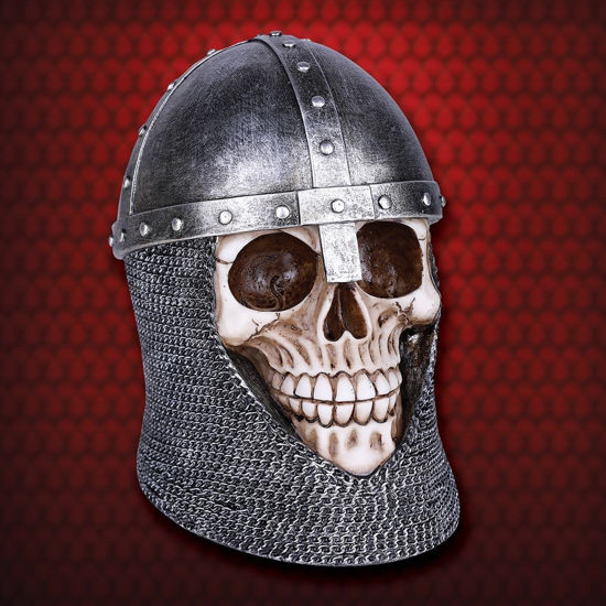 Medieval Templar Knight Skull Wearing Mail and Nasal Helm