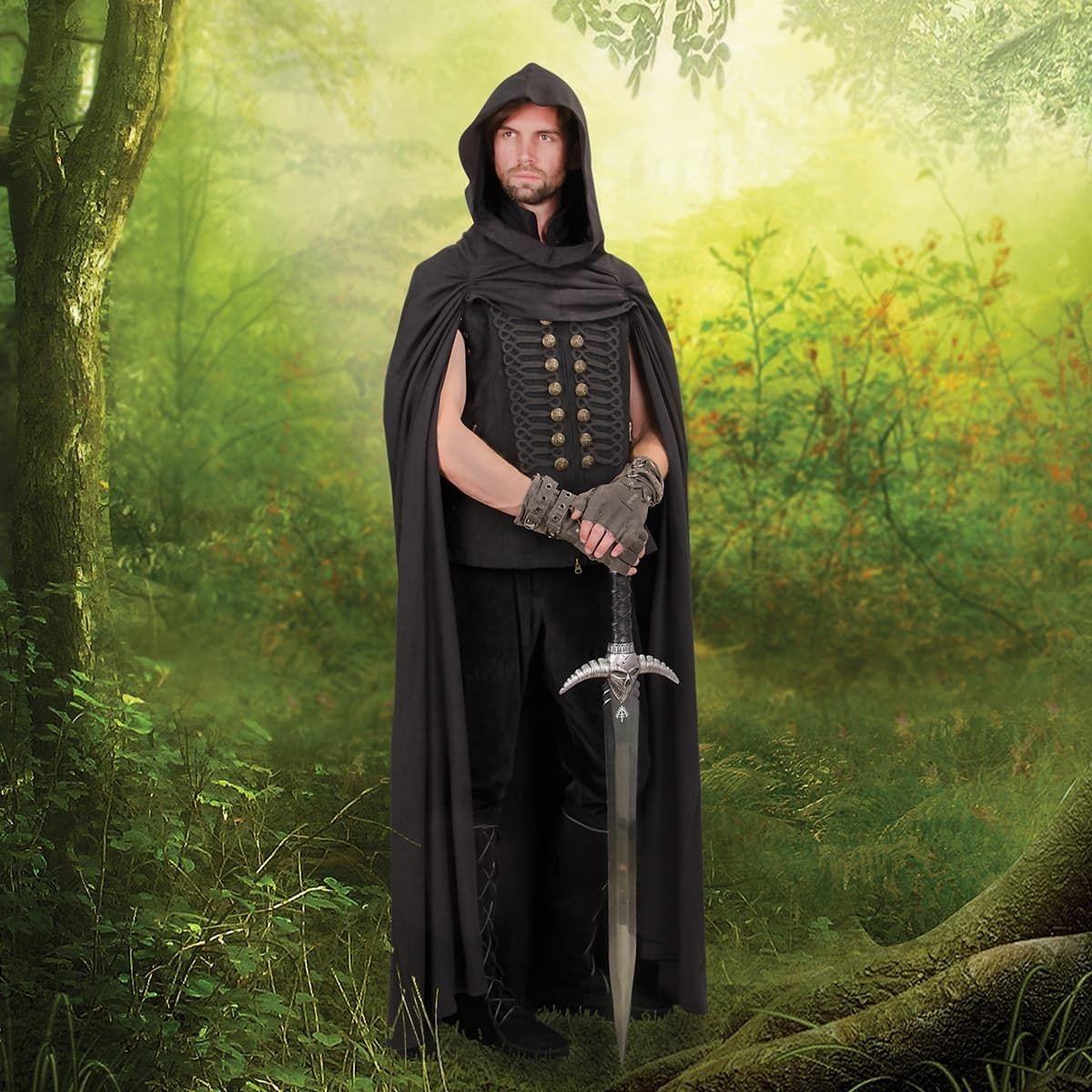 Black Mercenary Hooded Cloak