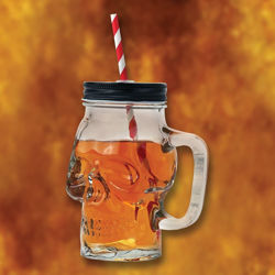 Skull Glass Mason Jar Mug with Handle and Straw