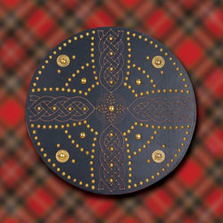 Celtic Cross Scottish Targe Shield with Brass Decoration
