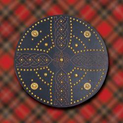 Celtic Cross Scottish Targe Shield with Brass Decoration