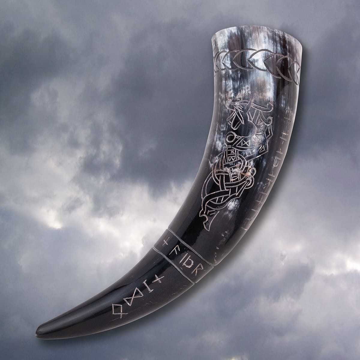 Carved Viking Dragon Drinking Horn