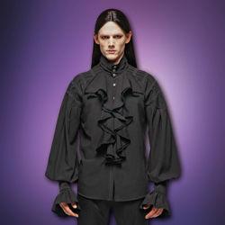 de Sade Black Gothic Ruffle Front Men's Shirt