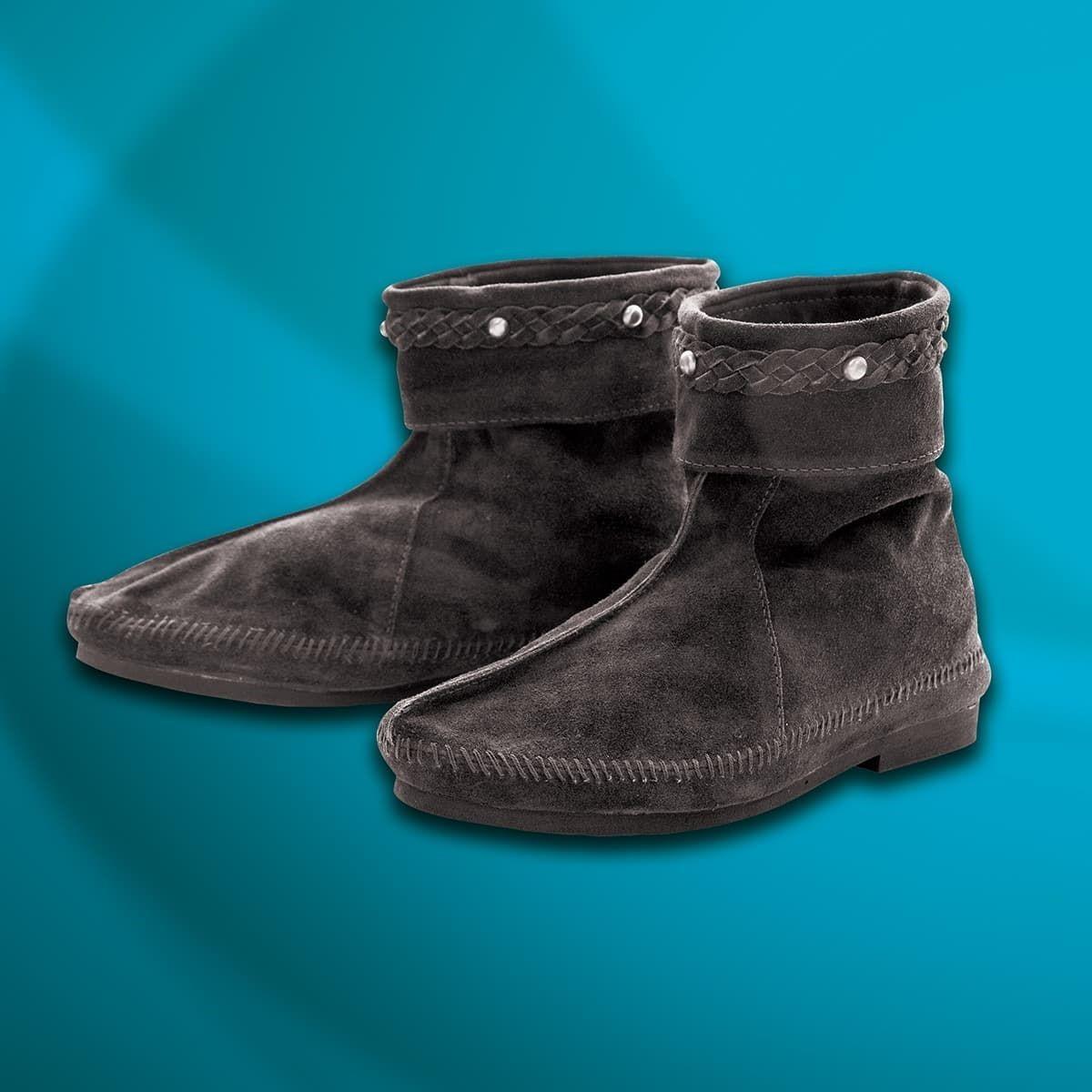 Black Suede Medieval Men's Ankle Boots