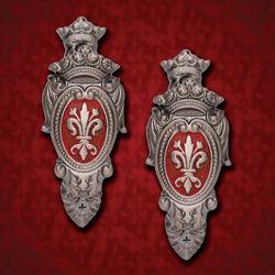Set of 2 Fleur de Lis Sword Hangers