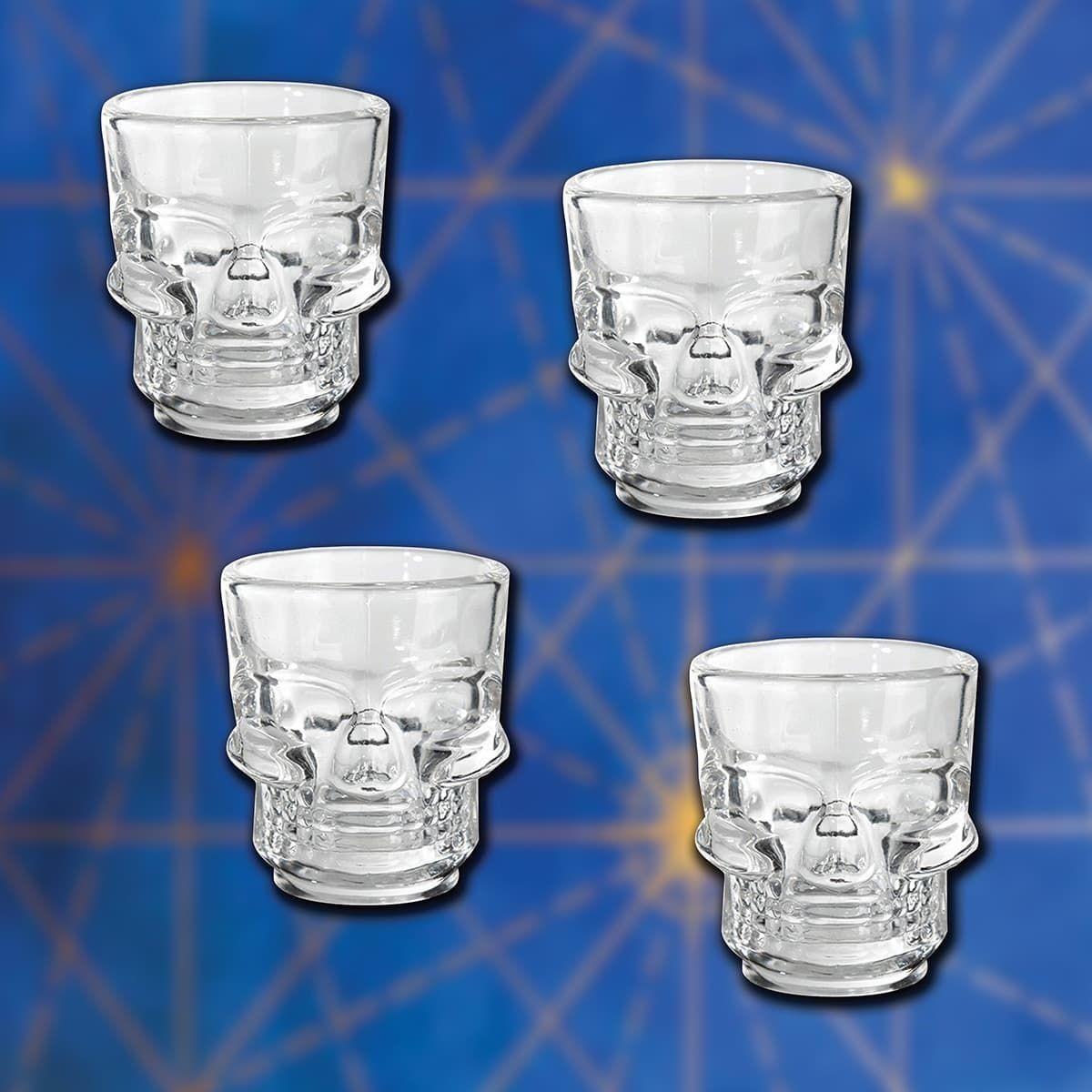 Set of 4 Heavy Weight Glass Skull Shot Glasses