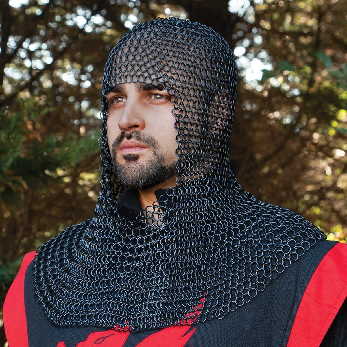 16 Gauge Butted Steel Blackened Mail Armor Coif