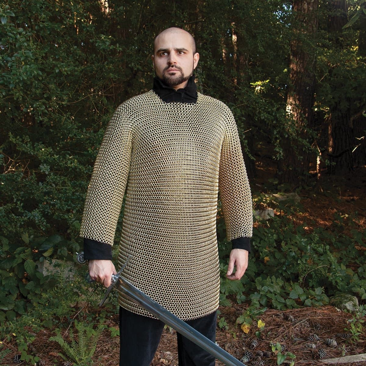 16 Gauge Butted Steel Plated Brass Mail Armor Shirt