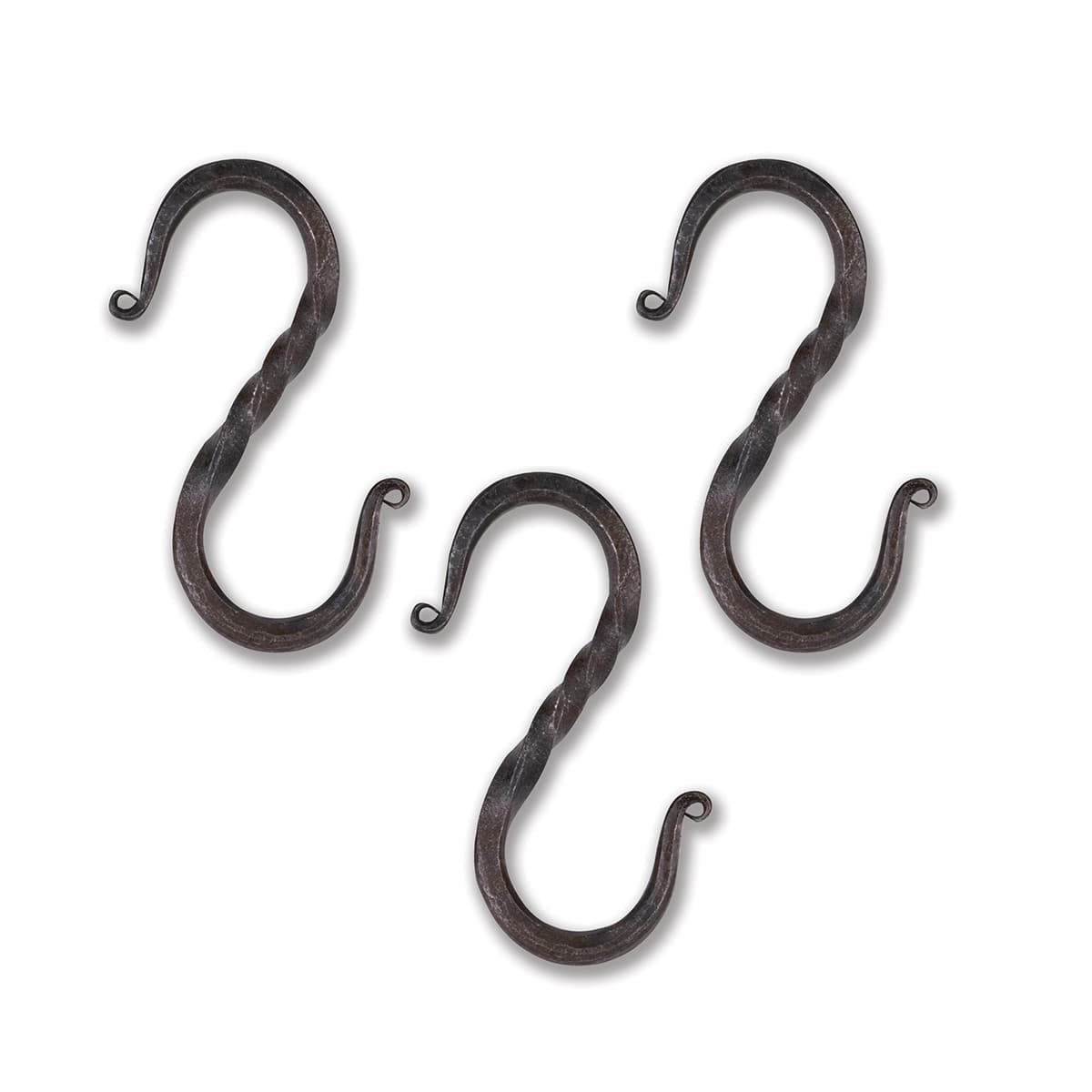"Set of 3 Hand Forged Iron Large Medieval ""S"" Hooks"