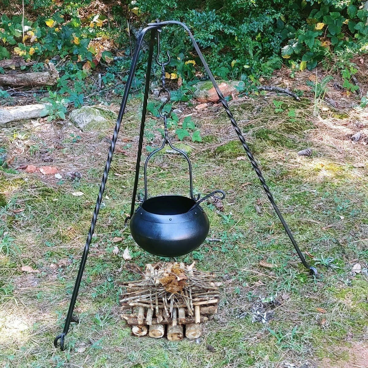 Camp Gear set up with Medieval Forged Iron Utensils