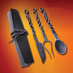Belt Pouch and Leaf Motif Iron Feasting Utensil Set