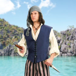Navy Mens Cotton Pirate Vest