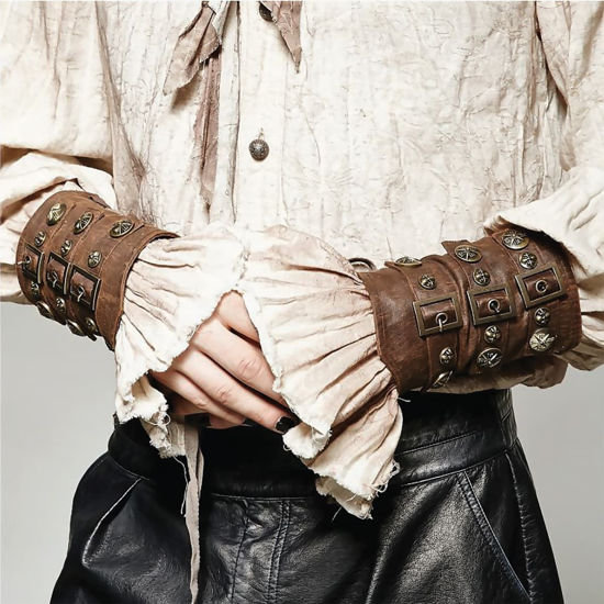 Set of 2 Faux Leather Steampunk Armor Vambraces