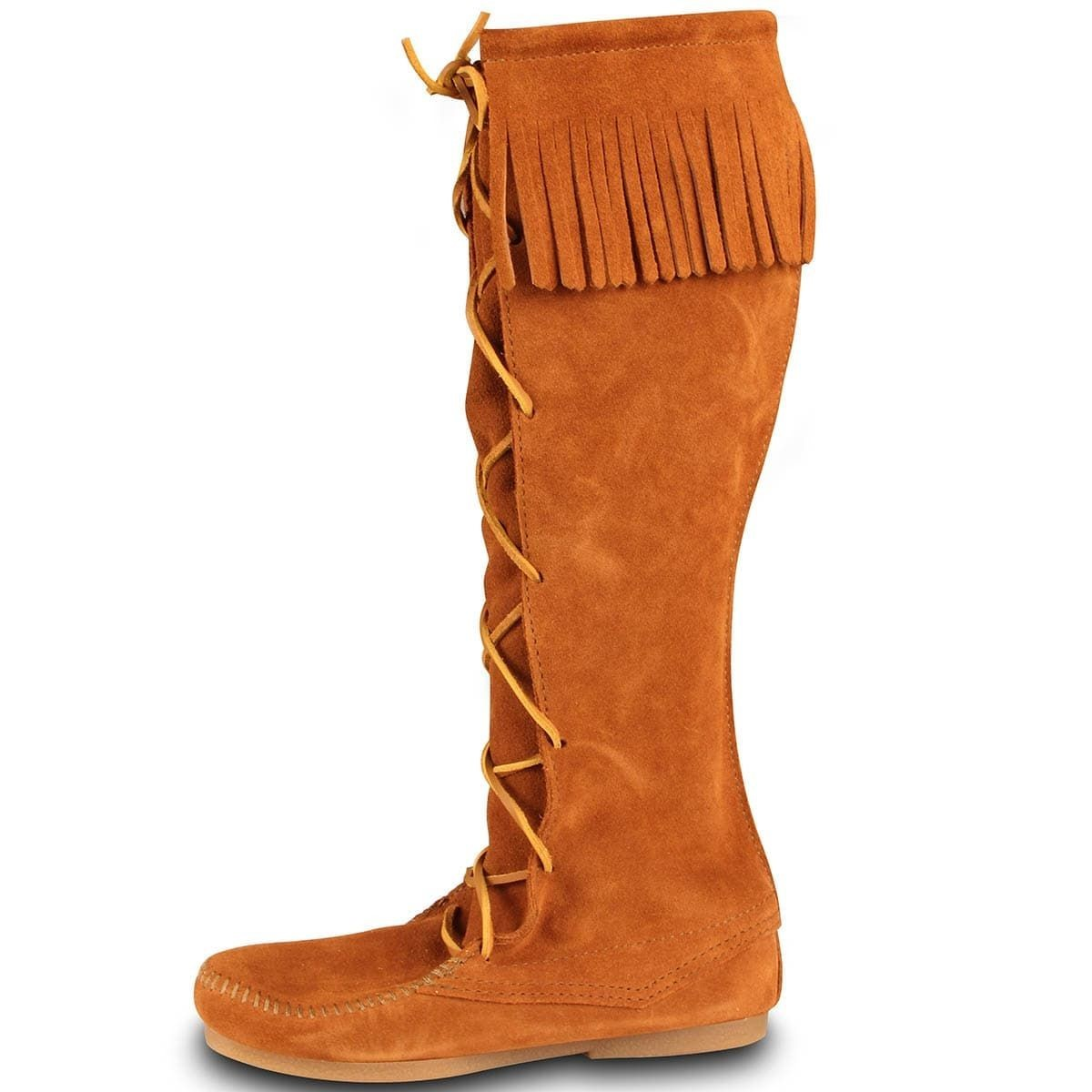 Medieval Suede Mens Tall Lace Front Boots in Brown with Fringe