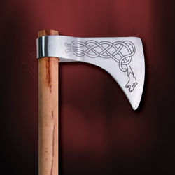 Dragon Viking Axe with Decorated High Carbon Steel Blade and Hardwood Shaft