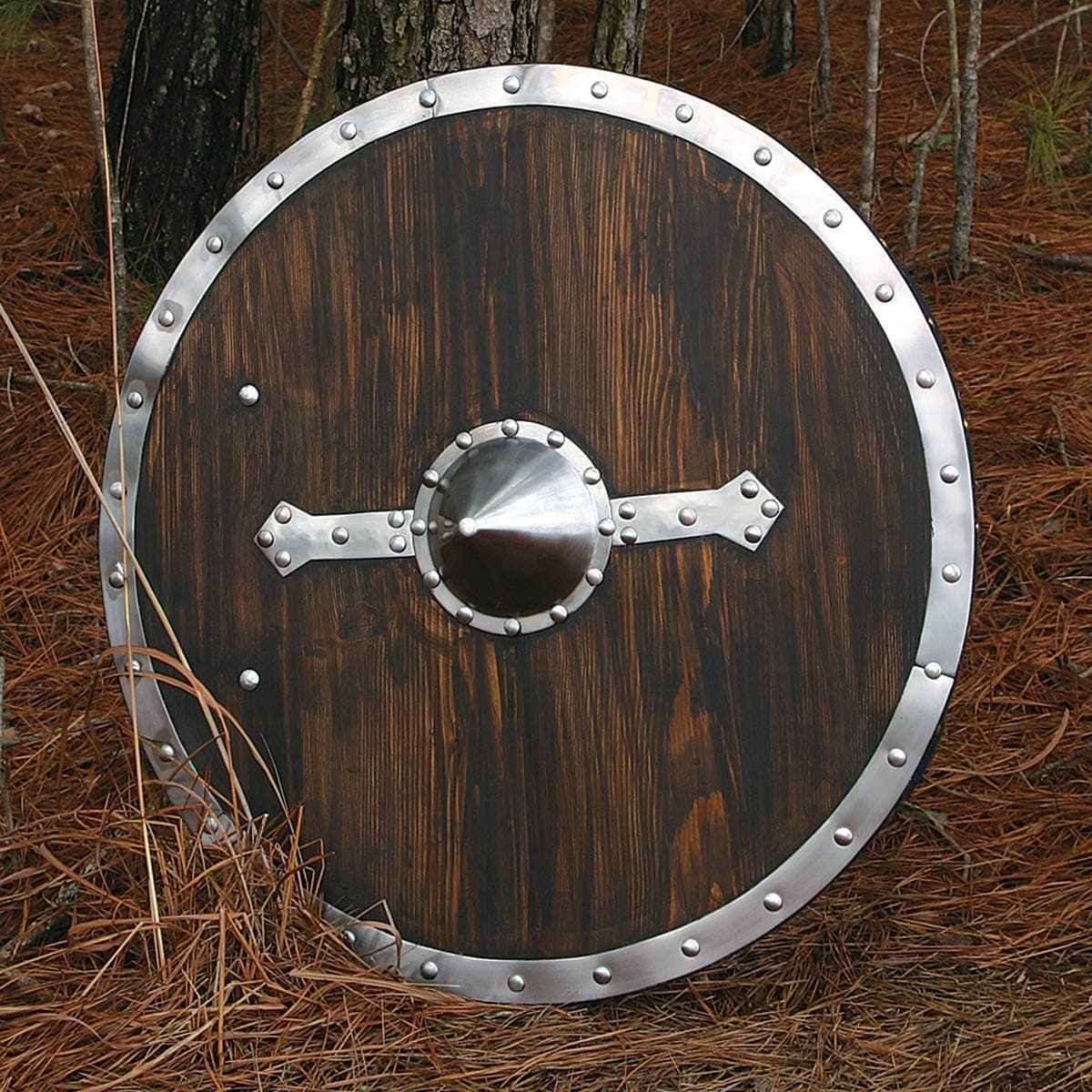 Brown Wooden Round Viking Shield with Steel Boss, Steel Decorative Strips and Steel Rim