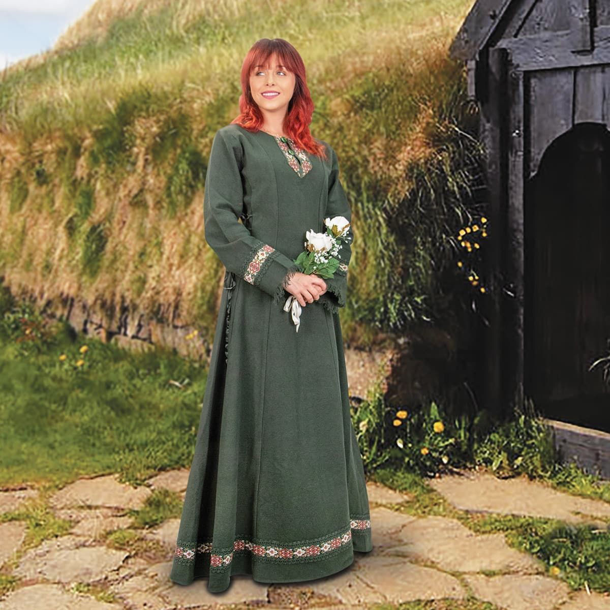 Norse Medieval Viking Dress in Green
