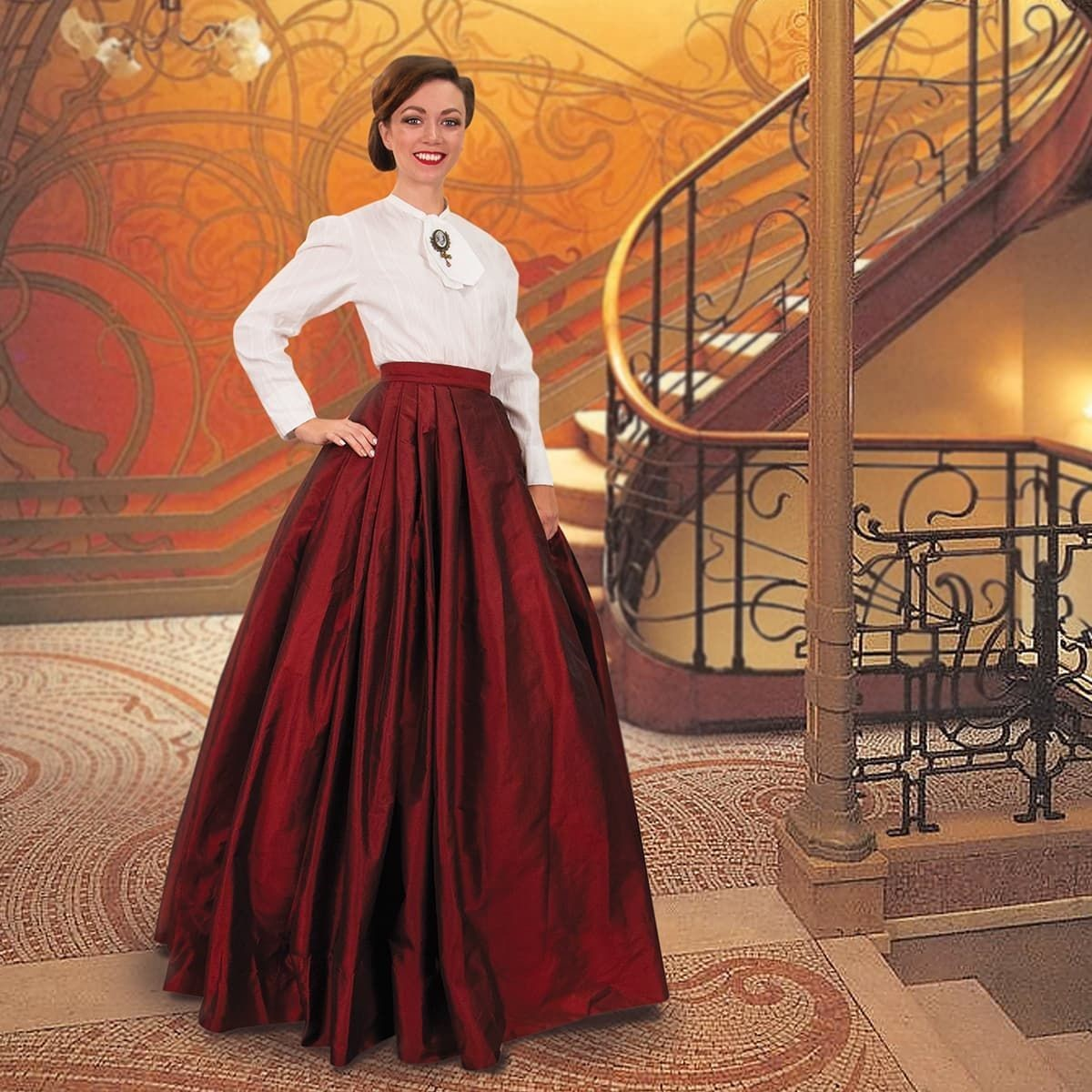 Victorian Taffeta Skirt w/ Attached Underskirt