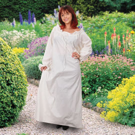 Muslin Ladies Medieval Chemise with elastic wrist gathers and a drawstring neck