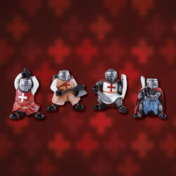 Ninny Knights Set of 4 Painted Resin Statues