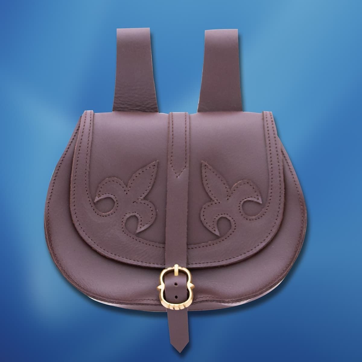 Brown Leather Pouch with Dual Fleur de Lis Pattern