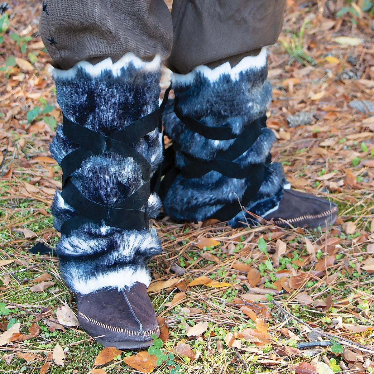 Viking Faux Fur Leggings in Grey and Black