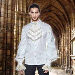 Marquis Men's White Brocade Shirt with Jabot