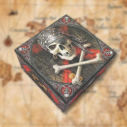 Trinket Box with Jolly Roger Pirate Images