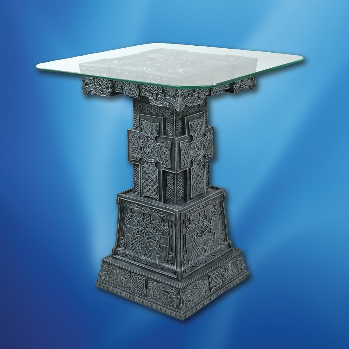 Celtic Cross Resin Table with Glass Top
