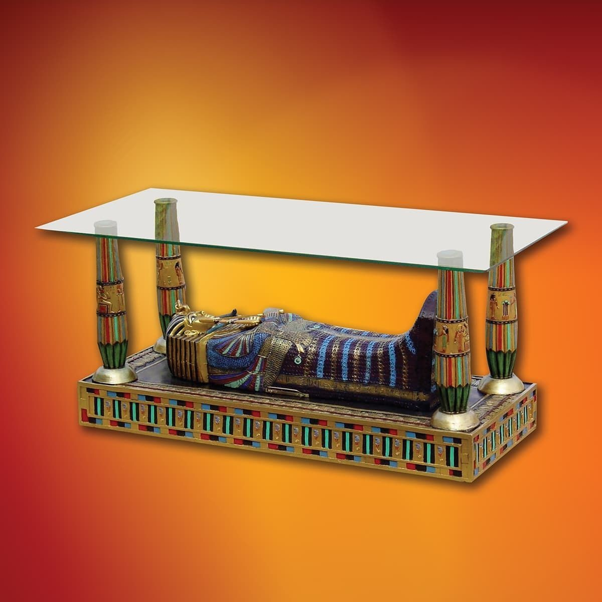 Luxor Glass Top Sarcophagus Table